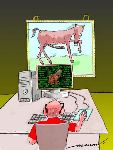 Cartoon: female trojan (medium) by kar2nist tagged computer,horse,virus,trojan