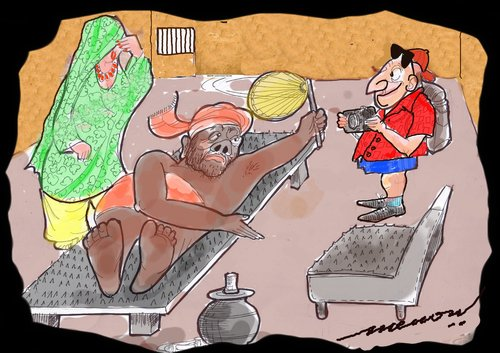 Cartoon: Hospitality (medium) by kar2nist tagged thorns,india,fakirs,visitors,hospitality