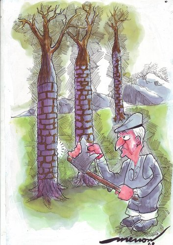 Cartoon: self defence (medium) by kar2nist tagged trees,felling,nature,protection