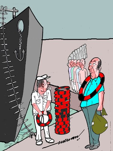 Cartoon: sendoff (medium) by kar2nist tagged send,off,ship,lifebuoy,rope,ladder