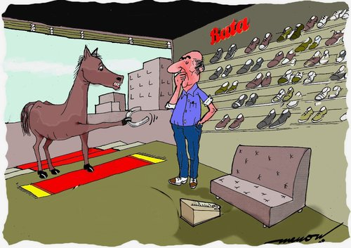 Cartoon: shopper of shoes (medium) by kar2nist tagged buying,horseshoe,purchase,shop,horse,shoe