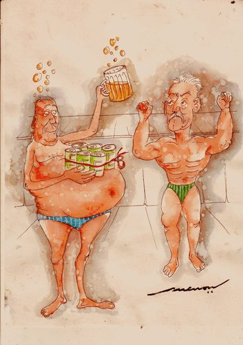 Cartoon: Six-pack All (medium) by kar2nist tagged gym,beer,building,body,packs,six