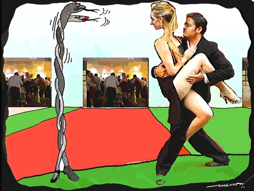 Cartoon: Two2Tango (medium) by kar2nist tagged tango,snakes,dance