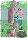Cartoon: The Seat (small) by kar2nist tagged tree,felling,bird,rain