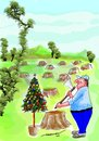 Cartoon: Total deforestation (small) by kar2nist tagged deforestation,global,warming,tree,felling,climatic,changes,plundering,nature