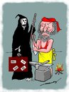 Cartoon: Workaholc (small) by kar2nist tagged worek,death,wars,blacksmith,innocents,killing