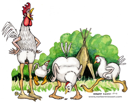 Cartoon: Chicken (medium) by Niessen tagged gallo,gallina,canto,pollaio,cock,hen,singing,henhouse,hahn,henne,gesang,hühnerstall