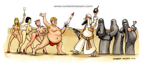 Cartoon: Kulturkrieg (medium) by Niessen tagged muslim