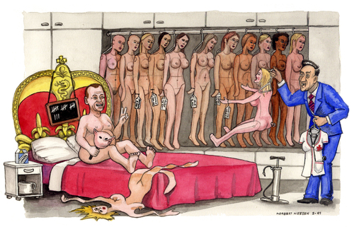 Cartoon: Le donne del Premier (medium) by Niessen tagged italy,competition,prostitute,plastic,berlusconi,bed
