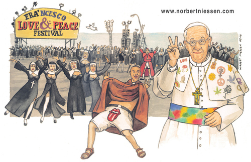 Cartoon: Love and Peace (medium) by Niessen tagged papst,nonne,mönch,priester,fest,rock,frieden,liebe