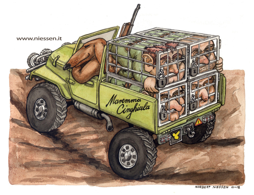 Cartoon: Maremma Cinghiala (medium) by Niessen tagged hunter,dog,cramped,evil,cage,offroad