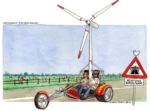 Cartoon: Nordwind (medium) by Niessen tagged energy,cars