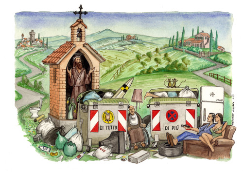 Cartoon: Visit Tuscany (medium) by Niessen tagged ecology,trash,toscana,spazzatura,garbage,tuscany,environment,turism