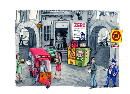 Cartoon: Zero Spazzatura (medium) by Niessen tagged environment,recycling,trash,ecology,waste,naples