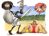 Cartoon: La fame nel mondo (small) by Niessen tagged hunger beach black white man woman summer