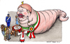 Cartoon: La Regina (small) by Niessen tagged regina mangiare sacrificio carabiniere prete figli queen eating sacrifice priest children