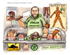 Cartoon: Mangiare country (small) by Niessen tagged fleisch kannibalen einwanderung metzger