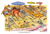 Cartoon: Mare nostrum (small) by Niessen tagged sea sun summer skeletons bones bathers immigrants dead illegals