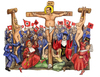 Cartoon: Papi in croce (small) by Niessen tagged berlusconi,christ,cross,judge,papi,girls,communist,radical