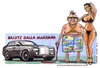 Cartoon: Saluti dalla Maremma (small) by Niessen tagged invidia cartolina rollsroyce macchina donna estate vacanze envy postcard machinery woman summer holidays neiden postkarte auto frau sommer urlaub