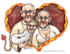 Cartoon: The pope family (small) by Niessen tagged papa,papessa,diavolo,amore,cuore,fuoco,bambino,pope,popess,devil,love,heart,fire,child,papst,päpstin,teufel,liebe,herz,feuer,kind