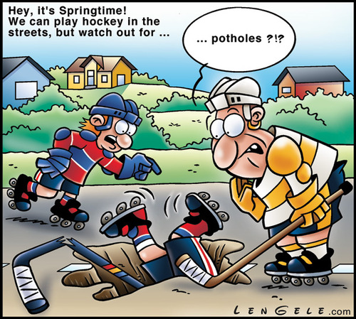 Cartoon: Hockey street (medium) by Carayboo tagged hockey,street,springtime,sport,pot,hole,player,game,stick,helmet,goal,target