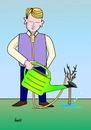Cartoon: Geduld (small) by berti tagged selbstmord,hängen,suicide,hang,baum,wachsen,giessen,tree,grow