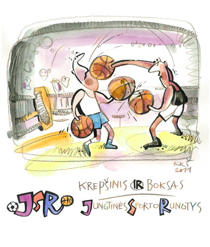 Cartoon: Basketball and Boxing (medium) by Kestutis tagged kestutis,boxing,basketball,sport,lithuania