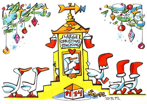 Cartoon: Geese pace up to Santa Claus (medium) by Kestutis tagged geese,santa,claus,winter,christmas,weihnachten,stockings,kestutis,lithuania,adventure