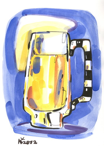 Cartoon: PINT OF BEER LOVERS (medium) by Kestutis tagged lithuania,siaulytis,kestutis,bier,glass,beer,foam,oktoberfest