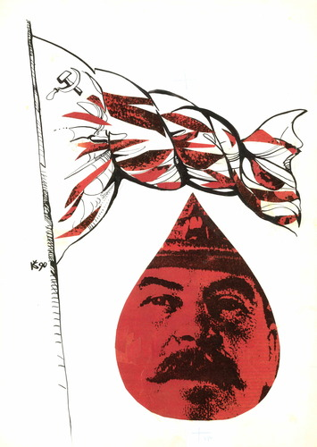 Cartoon: Red flag (medium) by Kestutis tagged red,flag,rote,fahne,lithuania,kestutis,ussr,stalin