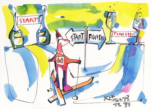 Cartoon: Sports and philosophy. Crossroad (medium) by Kestutis tagged lithuania,kestutis,finish,start,champagne,skiing,2014,sochi,olympic,winter,crossroad,philosophy,sports