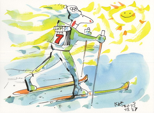 Cartoon: Winter Olympic calendar (medium) by Kestutis tagged calendar,winter,olympic,start,snow,sochi,2014,sports,skiing,sun,kestutis,siaulytis