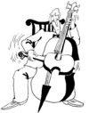 Cartoon: CONCERTO (small) by Kestutis tagged concerto,violin,cello,kestutis,siaulytis,lithuania,music