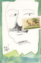 Cartoon: Green Hills of Africa (small) by Kestutis tagged dada,postcard,kestutis,lithuania,nature,journey,literature,green,africa,hemingway