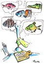 Cartoon: LINES (small) by Kestutis tagged lines,fish,food,adventure,chef,pirate,animal,kitchen,cook,kestutis,siaulytis,lithuania,turtle,pirates,knife,messer,pike,hecht