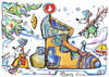 Cartoon: Mice awaiting Santa Claus (small) by Kestutis tagged mice,santa,claus,christmas,weihnachten,winter,kestutis,lithuania,adventure,mouse,gift