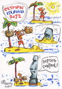 Cartoon: OLYMPIC ISLAND. Weightlifting (small) by Kestutis tagged weightlifting london 2012 strip comic athletics comics summer olympic olympics sport desert island palm lithuania kestutis siaulytis ocean easter doping control sculpture