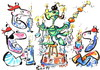 Cartoon: PIRATES CHRISTMAS TREE (small) by Kestutis tagged happy new year pirates christmas tree fiesta feast fest adventure happening