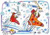 Cartoon: Racing to Santa Claus (small) by Kestutis tagged racing,santa,claus,kestutis,lithuania,snowflakes,schneeflocken,hare,hase,weihnachten,christmas
