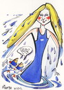 Cartoon: Ruta Meilutyte (small) by Kestutis tagged ruta,meilutyte,sport,london,2012,kestutis,summer,olympics,medal,gold,winner,champion,record,europe,lithuania,caricature,swimming