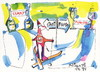 Cartoon: Sports and philosophy. Crossroad (small) by Kestutis tagged sports,philosophy,crossroad,winter,olympic,sochi,2014,skiing,champagne,start,finish,kestutis,lithuania