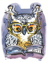 Cartoon: WISDOM AND COOPERATION (small) by Kestutis tagged happy,new,year,wisdom,cooperation,brille,buch,eule,book,glasses,optician,owl,weisheit,zusammenarbeit