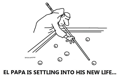 Cartoon: al papa and stuff (medium) by ouzounian tagged games,vatican,billiards,pope