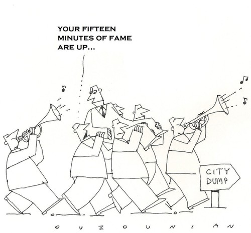 Cartoon: fame and stuff (medium) by ouzounian tagged fame,fate,public,society,stars,celebrities