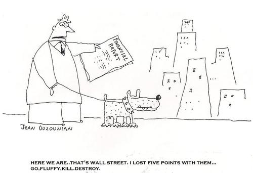 Cartoon: wall street and stuff (medium) by ouzounian tagged wallstreet,market,money,pets,investments