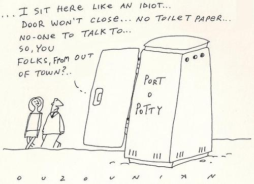 Cartoon: port o potty (medium) by ouzounian tagged loneliness,toilets,portable