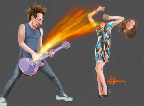 Cartoon: The Power Of Rock (medium) by cristianst tagged caricature
