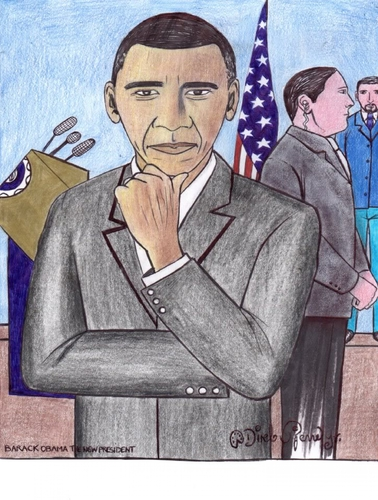 Cartoon: Barack obama the new president (medium) by odinelpierrejunior tagged arts,cartoons,drawings,designs,paintings,pictures