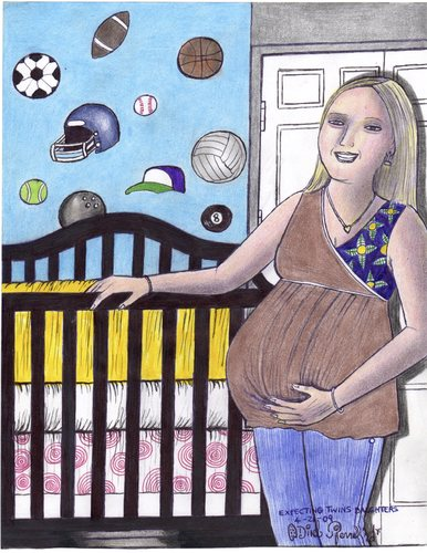 Cartoon: expecting twins daughter (medium) by odinelpierrejunior tagged image,picture,figure,portrait